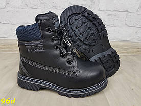 Зимние ботинки детские тимбер на натуральном меху овчине черные 28-33р
