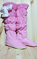 Детские домашние флисовые  тапочки-сапожки для девочек