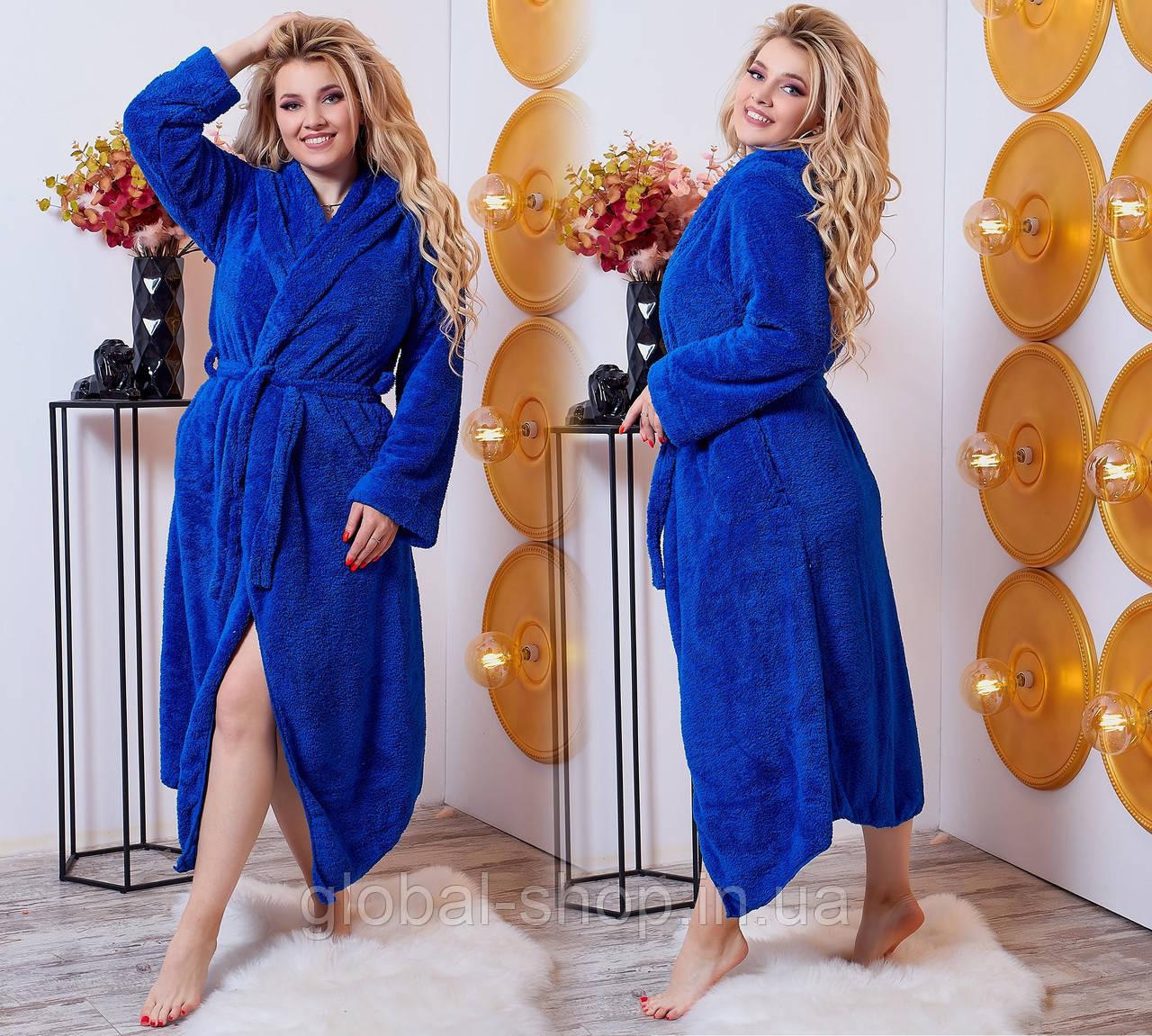 Длинный женский махровый халат с капюшоном 098 батал и норма