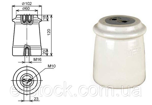 Изоляторы фарфоровые опорные ИО-10-7,5 У3, Изолятор ИО-10-7,5 У3