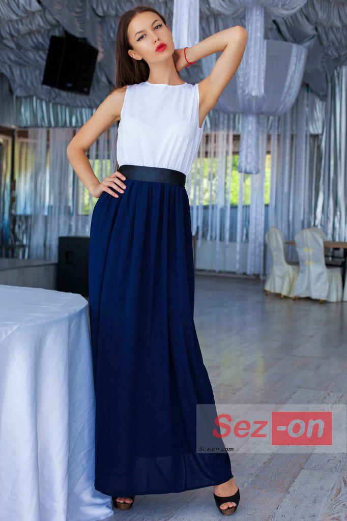 Плаття довге жіноча з поясом