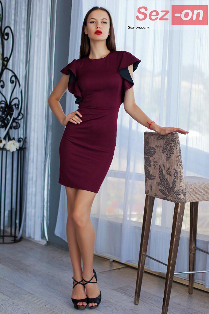 Плаття жіноче вбрання рукава-волани ― Бордовий