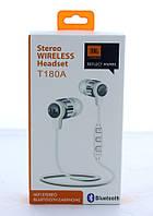 Наушники беспроводные stereo wireless headset MDR JBL T180A + BT   вакуумные вкладыши со встроенным микрофоном