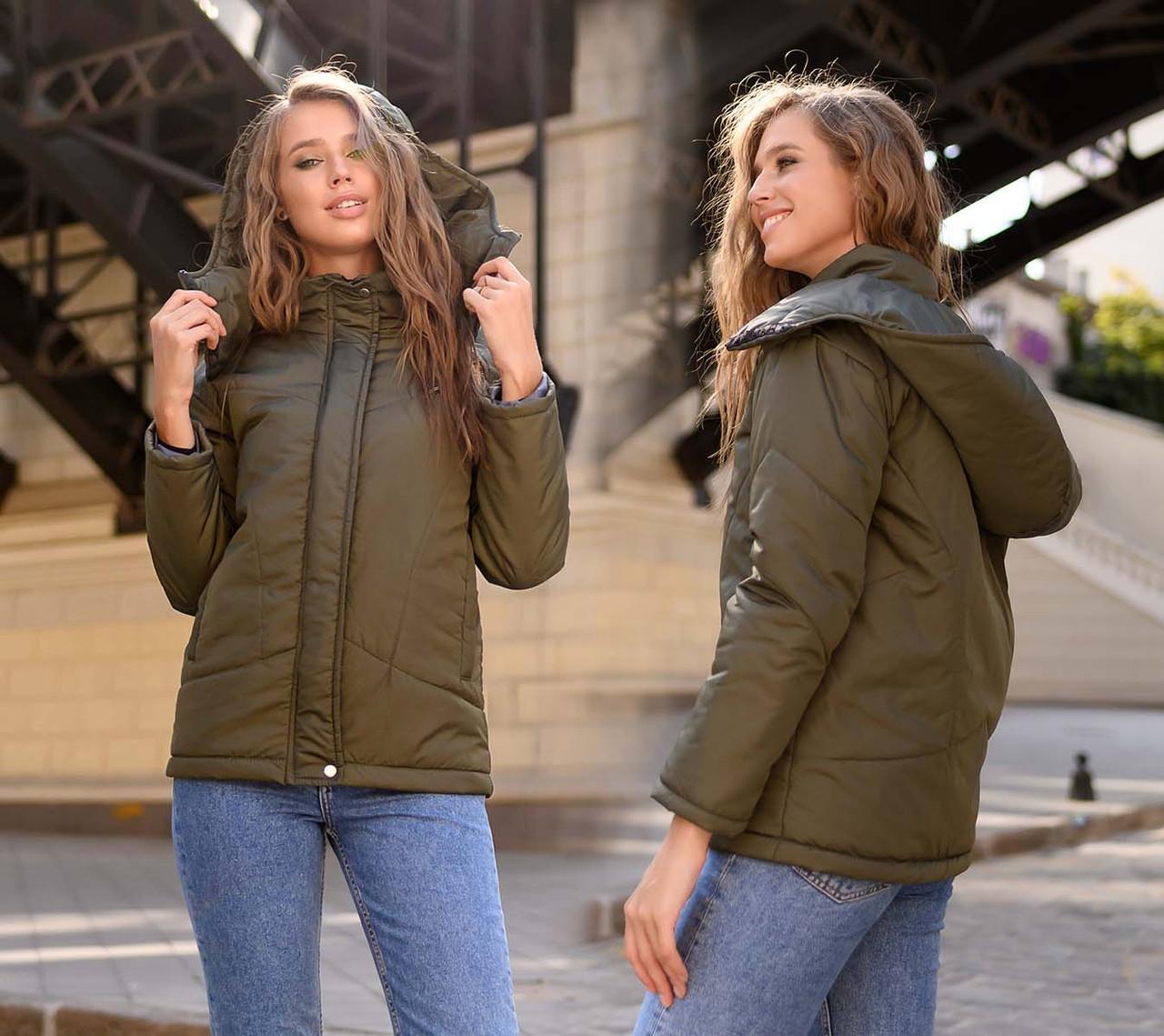 """Женская стильная куртка демисезон 0468 """"Канада Капюшон Стойка Кнопки"""" в расцветках"""