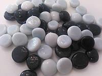 Стеклянные камни Марблс черно-белые, 200 грамм