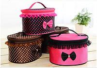 Тканевая косметичка Bow Storage Bag   красивая вместительная сумка для косметики   органайзер под косметику
