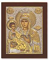 Троеручица икона Божией Матери 20х25см в серебряном окладе