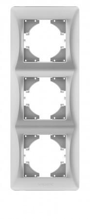 Рамка серебряный шёлк 3 поста вертикальная Videx binera (vf-bnfr3v-ss)