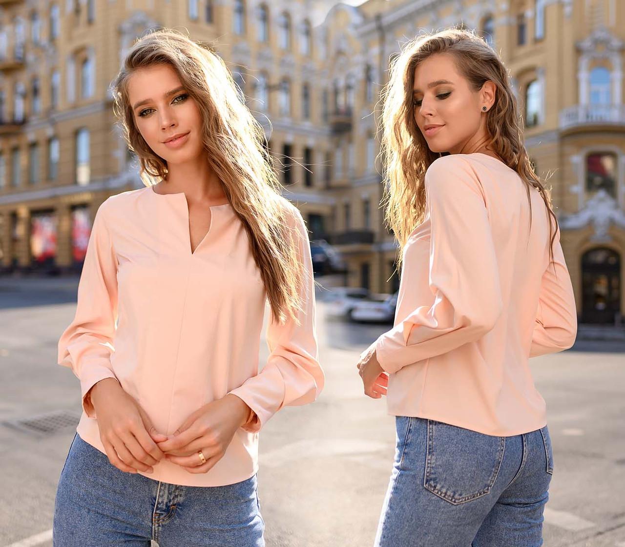 """Женская стильная блузка до больших размеров 15231 """"Софт Рукава Защипы"""" в расцветках"""