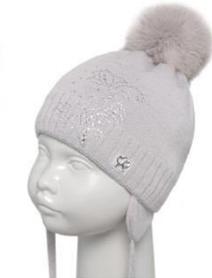 Осенняя польская шапка на флизе Barbaras (серая) р-ры 42-44