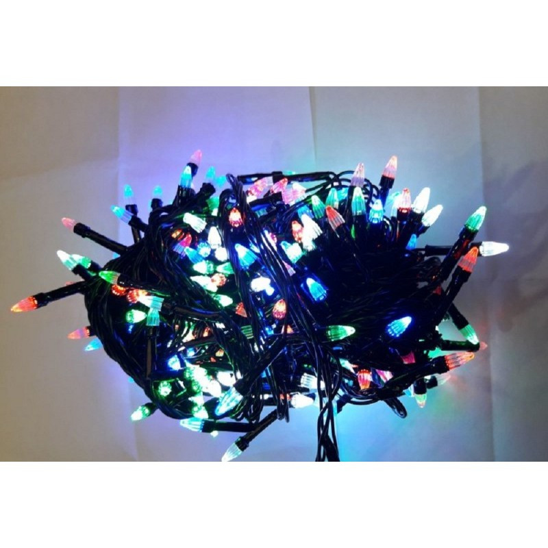 Гирлянда елка 100 LED 9м разноцветная на черном проводе