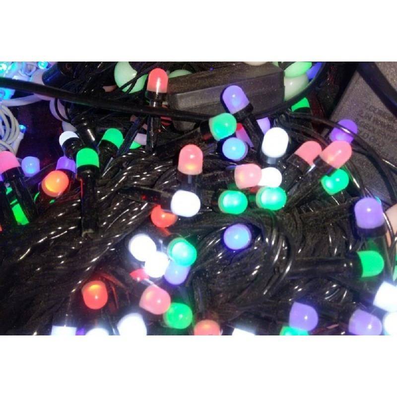 Гирлянда 300 LED 23м разноцветная на черном проводе 8mm