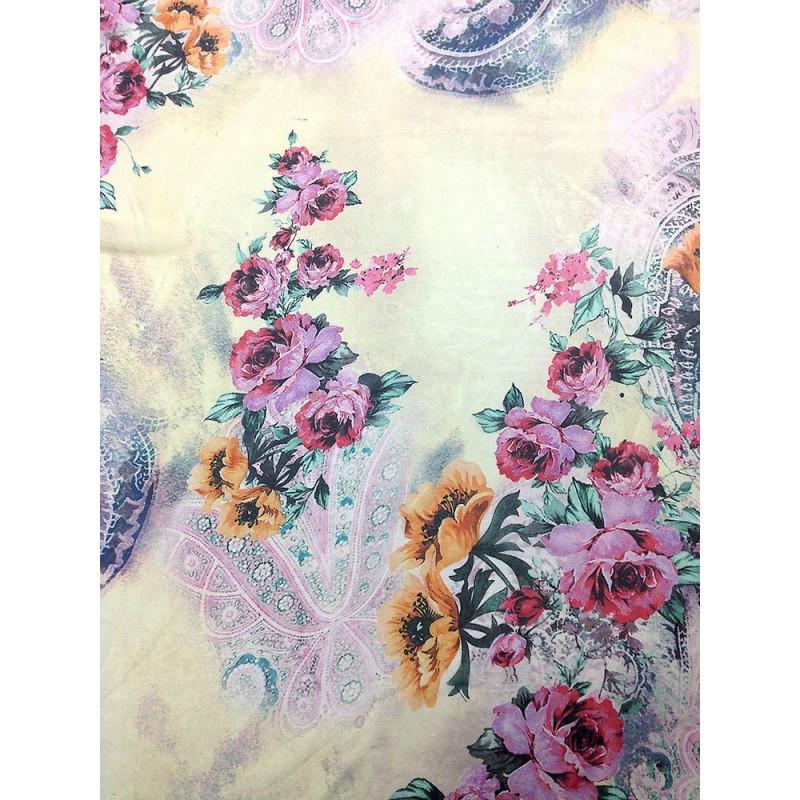 Шифон принт - молочный фон крупные розовые и оранжевые цветы