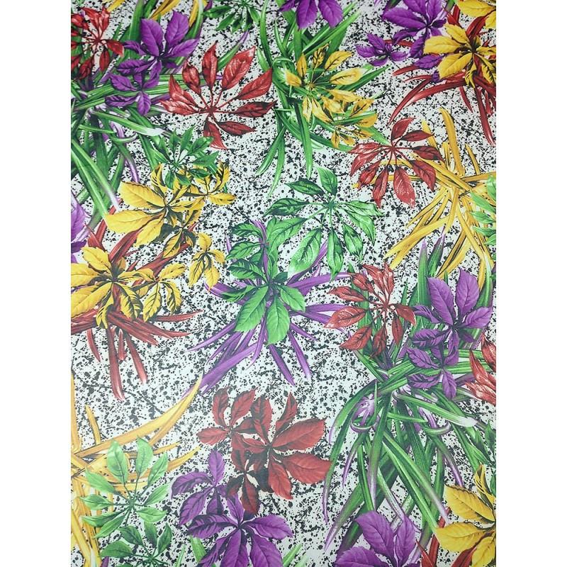Шифон принт - белый фон разноцветные тропические листья, желтые, зеленые, красные, фиолетовые