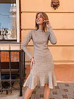 """Облегающее ангоровое платье-миди """"Lexa"""" с длинным рукавом (2 цвета)"""