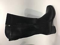 Высоки кожаные сапоги на широкую голень - шерсть, фото 1