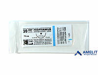 Полиамид, шовный материал, монофиламент, 3/0, режущая игла (Украина), 1шт.