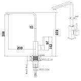 Смеситель для кухни (черный) в стиле Hi-Tech Fabiano FKM 52S S/Steel Antracit, фото 2