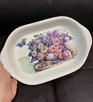 Блюдо для запекания Розовый букет, керамическое 358-822, фото 1