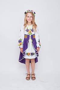Костюм  вышитый Волинські візерунки для девочки  Анютины глазки  122 см (фиолетовый)