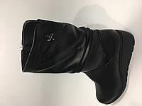 Кожаные зимние полусапожки на широкую голень, фото 1