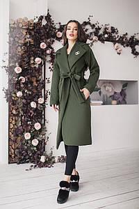 """Женское кашемировое пальто на запах """"COCO"""" с брошью и карманами (большие размеры)"""