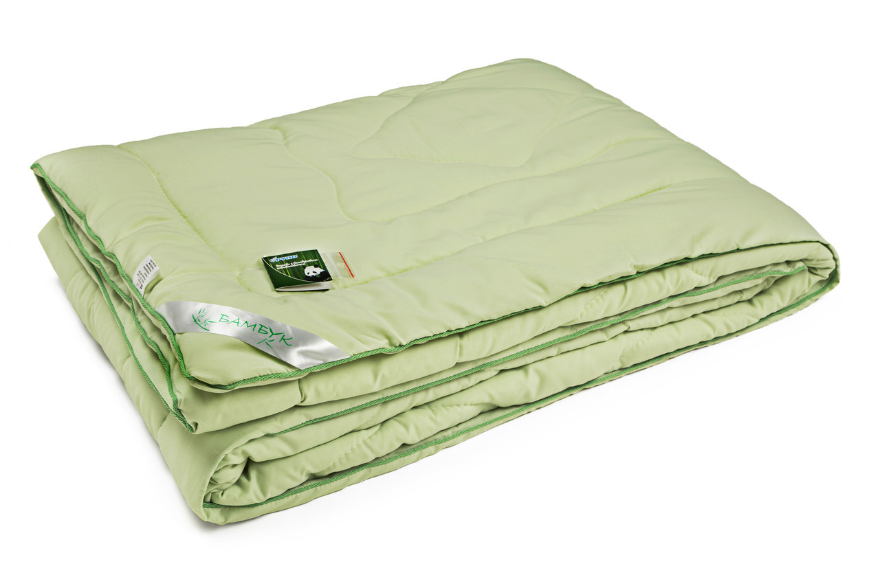 Одеяло бамбуковое Руно салатовое микрофибра демисезонное 172х205 двуспальное