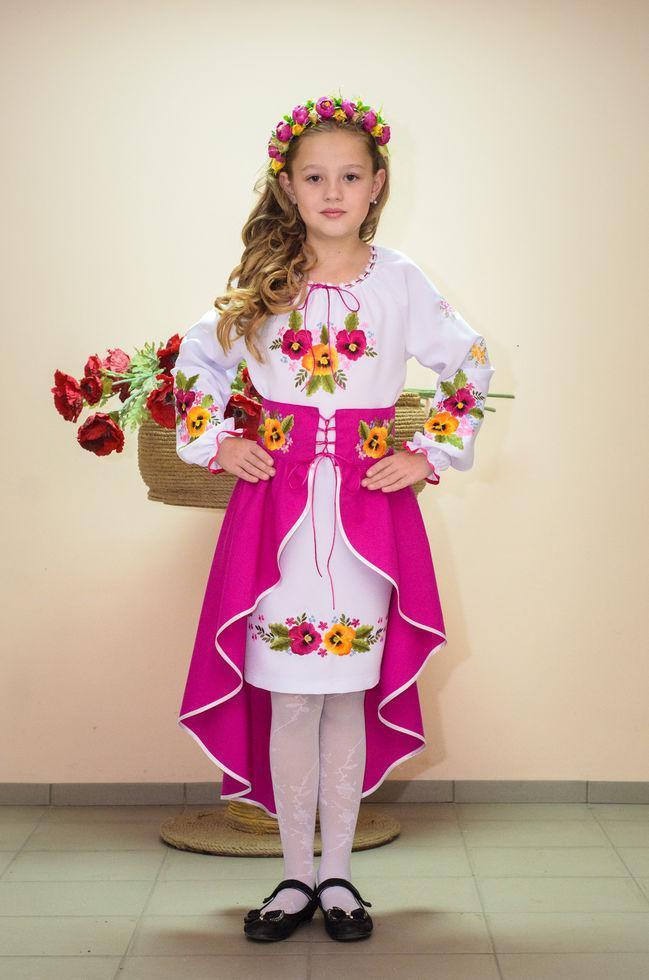 Костюм вишитий Волинські візерунки для дівчинки братки 134 см (рожевий)