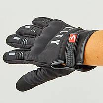 Зимние утепленные черные мото перчатки с защитой City, фото 3