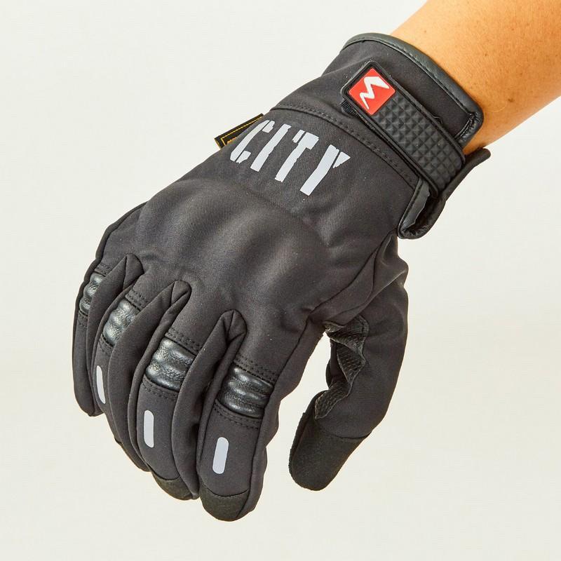 Зимние утепленные черные мото перчатки с защитой City