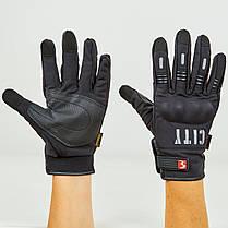 Зимние утепленные черные мото перчатки с защитой City, фото 2
