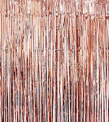 Шторка-завіса з фольги для фотозоны рожеве золото 2 х 1 метр