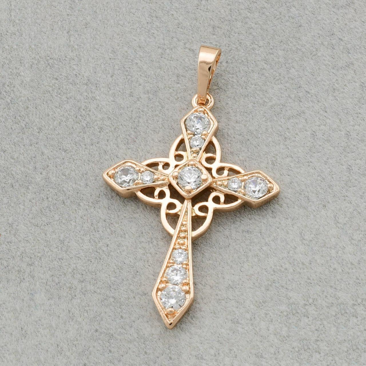 Крестик Xuping Jewelry декорирован камнями, медицинское золото, позолота 18К. А/В 4123