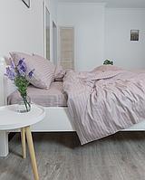 Комплект постельного белья Полуторный (150х220 см) Страйп-сатин цвет Мокко