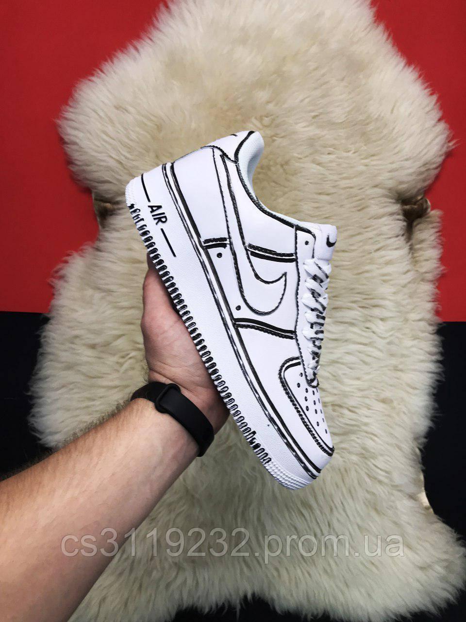 Мужские кроссовки Nike Air Force 1 Cartoon (белые)