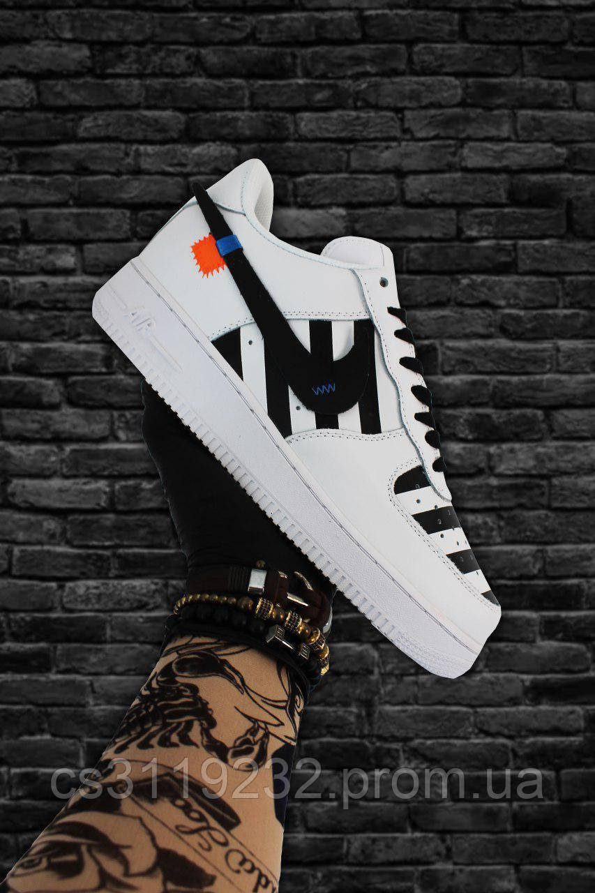 Мужские кроссовки Nike Air Force 1 Low OFF-WHITE White Black (белые)
