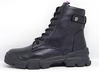 Ботинки женские зимние черные на шнурках и молнии.