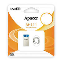 Модуль FD 32GB APACER AH111, метал, Blue USB 2.0 (AP8GAH111U-1)