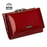 Компактный Женский Кошелек Кожаный Kafa с RFID защитой (AE214 red), фото 1