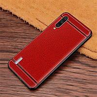 Чехол Litchi для Xiaomi Mi A3 (MiCC9e) силикон бампер с рифленой текстурой красный