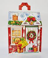 Упаковка Новый год Коробка Домик с мишками на 700 гр.