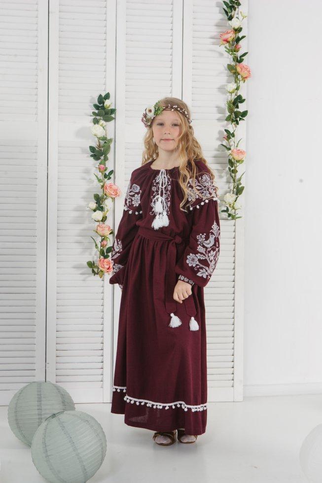 Платье Волинські візерункі  для девочки длинное вышитое  140 см цвета марсала