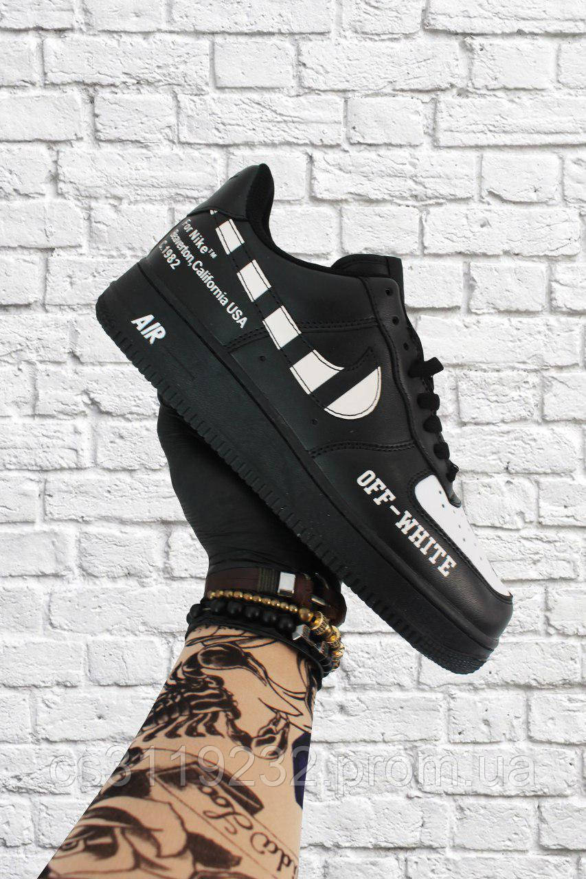 Мужские кроссовки Nike  Air Force 1 Low OFF-White (черные)