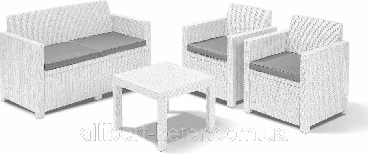 Набор садовой мебели Alabama Set White ( белый ) из искусственного ротанга