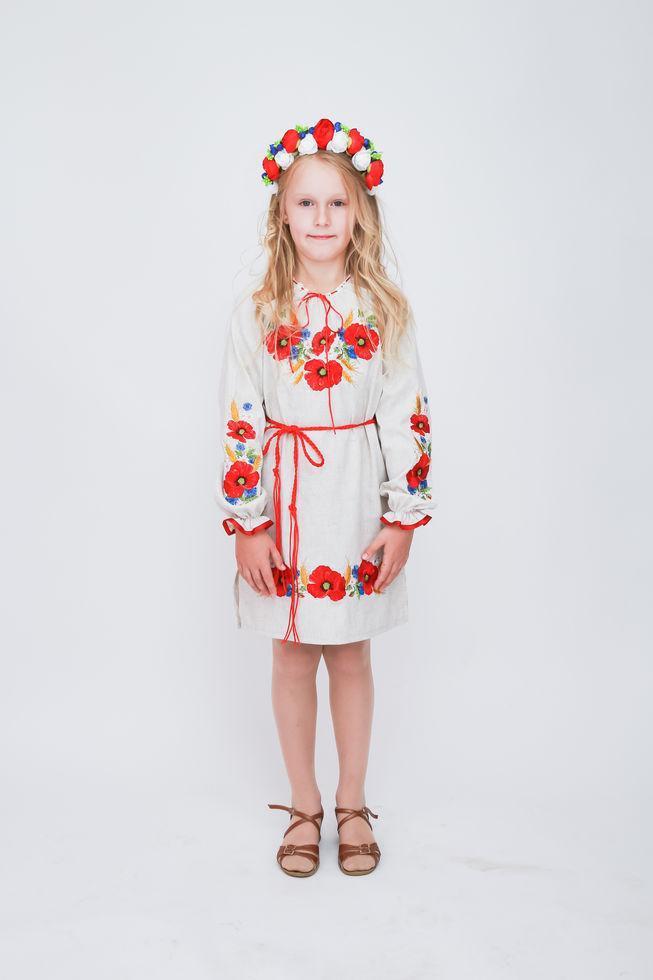 Сукня Волинські візерунки для дівчинки вишите Маки 128 см сіре