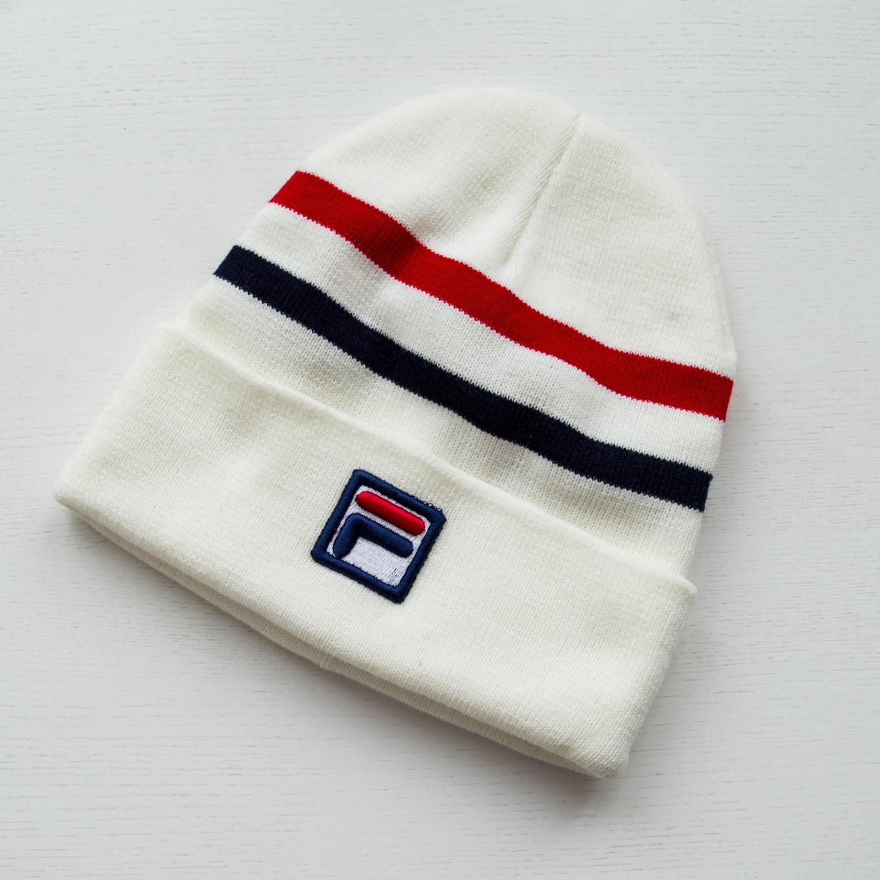 Зимняя шапка белая унисекс Fila