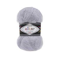 Пряжа Alize Mohair Classic New 52 светло-серый (мохеровая пряжа Ализе Мохер Классик, Алізе Мохер класік)