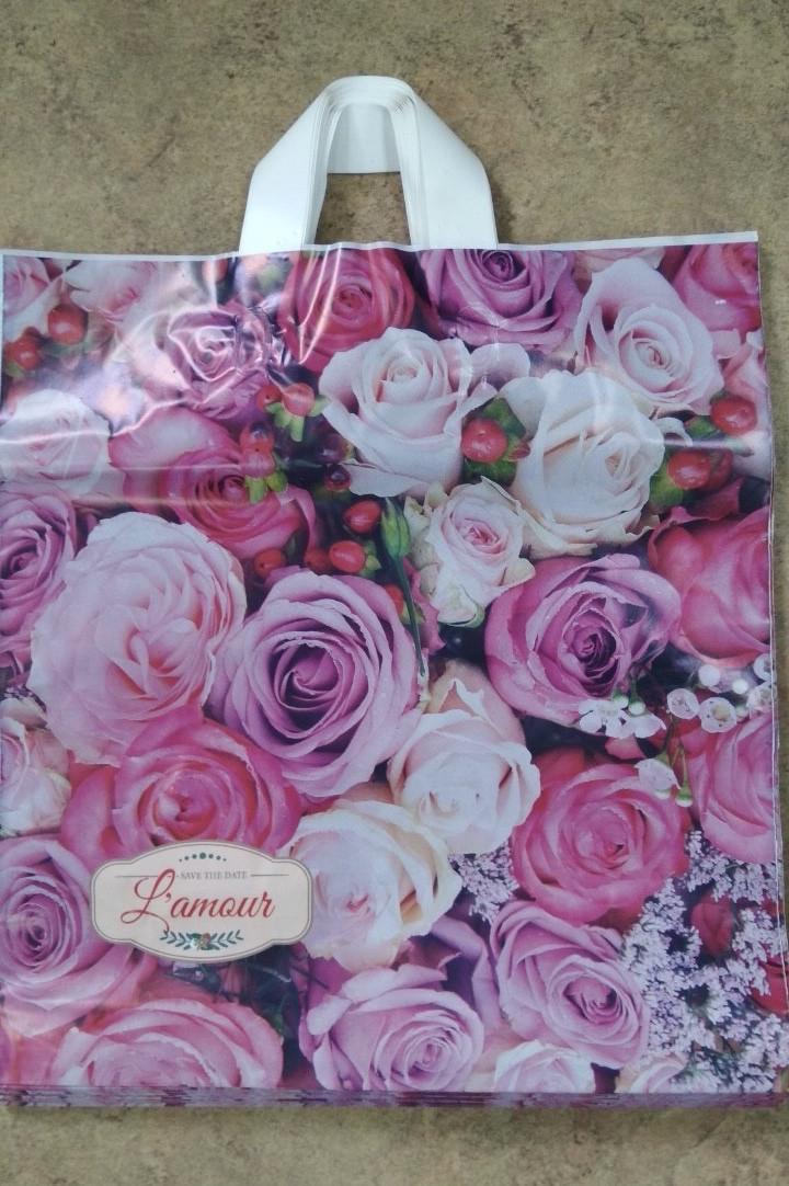 Полиэтиленовый пакет с петлевой ручкой 400*420 мм Розы