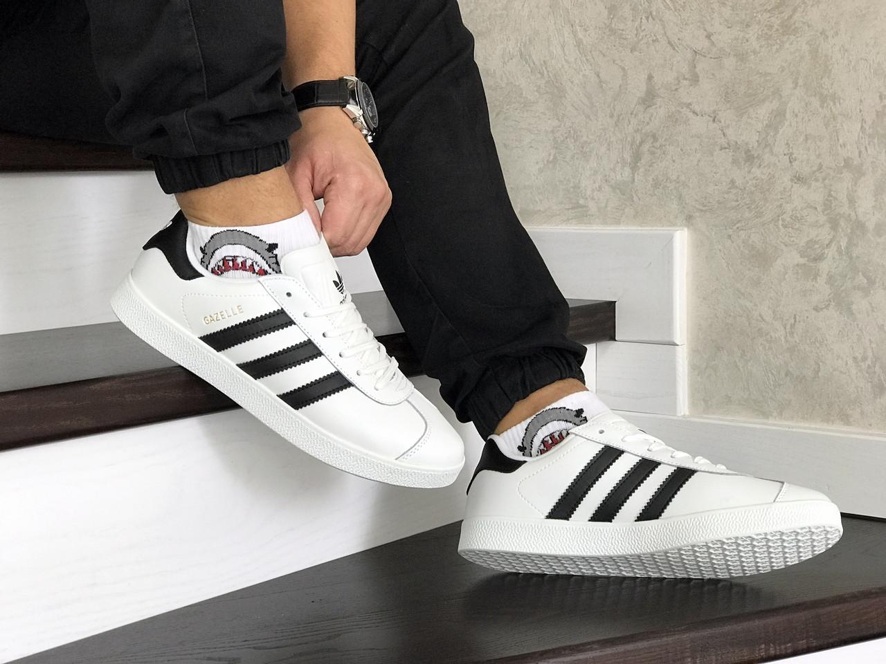 Білі чоловічі кросівки Adidas Gazelle Leather Traine / кеди адідас газелі (Топ репліка ААА+)