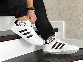Белые мужские кроссовки Adidas Gazelle Leather Traine / кеды адидас газели (Топ реплика ААА+)